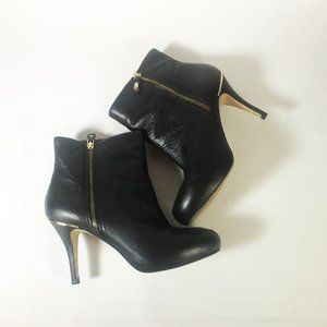 Zara Zip-Up Black Ankle Boots with Gold Details